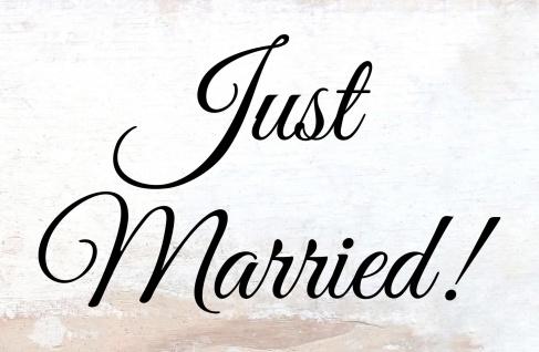 Blechschild Spruch Just Married! beiges Metallschild 20x30 cm Wanddeko tin sign