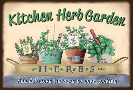 Kitchen Herb Garden Metallschild Wanddeko 20x30 cm tin sign - Vorschau 1