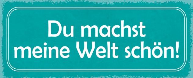 Blechschild Spruch Du machst meine Welt schön! Metallschild 27x10 Deko tin sign