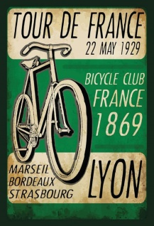 Retro: Tour de France 1929 Lyon Metallschild Wanddeko 20x30 cm tin sign