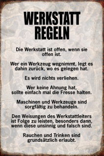Blechschild Spruch Werkstatt Regeln Metallschild Wanddeko 20x30 cm tin sign