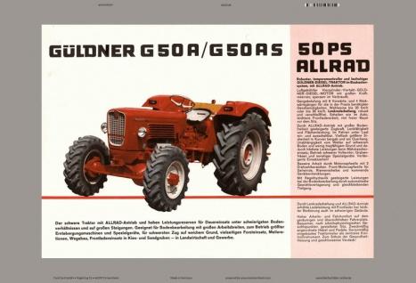 Güldner G50A / G50AS 50PS Allrad traktor trekker schlepper blechschild