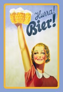 "Nostalgie: ""Hurra Bier"" Blechschild: 20x30 cm"