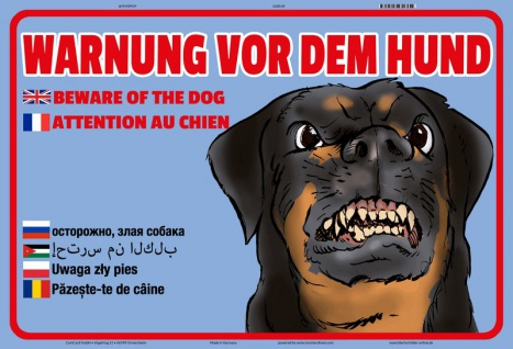 Blechschild Warnung vor dem Hund (Multi Sprachen) Metallschild 20x30 tin sign