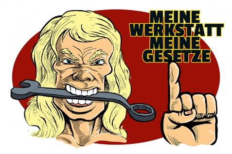 """"""" Meine werkstatt meine gesetze"""" blechschild, lustig, comic, metallschild"""
