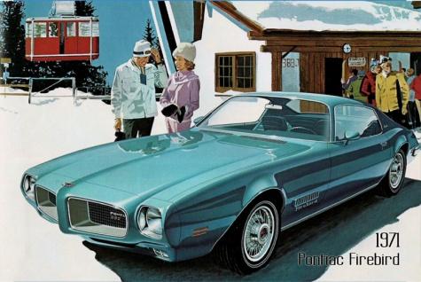 Pontiac Firebird 1971 Auto reklame blechschild, us, blau, sportwagen