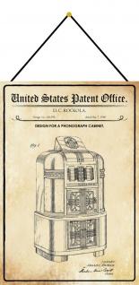 Blechschild Patent Entwurf für einen Phonographen - Schrank 20 x 30 m.Kordel