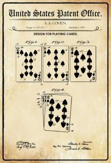 Blechschild Patent Entwurf für ein Kartenspiel Metallschild Wanddeko 20x30 cm tin sign
