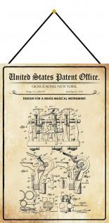 Blechschild Patent Entwurf für ein Musikinstrument Metallschild 20 x 30 m.Kordel