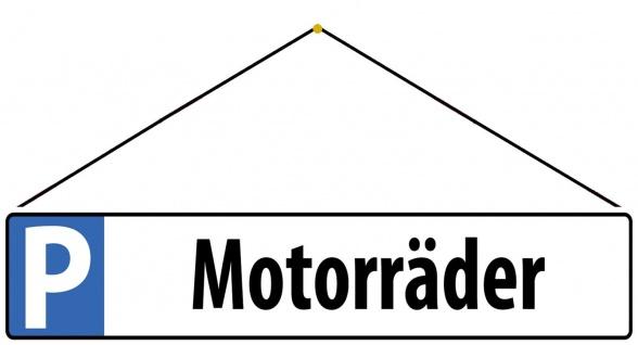 Blechschild Parkplatzschild Motorräder Metallschild Deko 46x10cm mit Kordel