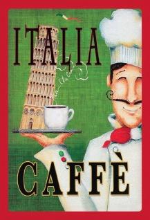 Blechschild Italia Caffè Metallschild Wanddeko 20x30 cm tin sign