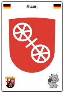 Blechschild Stadt Mainz Wappen Straßen Metallschild Wanddeko 20x30 cm tin sign