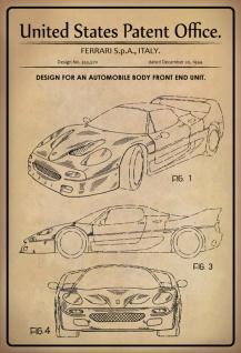 Blechschild Patent Entwurf Karosserie Front Ferrari Metallschild Wanddeko 20x30 cm tin sign