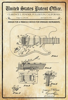 Blechschild Patent Entwurf Tremolo-Streichinstrumente Metallschild Wanddeko 20x30 cm tin sign