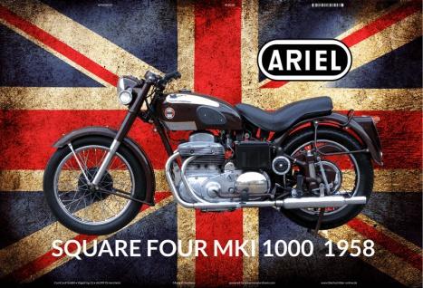 Ariel Square four Mk1 1000 1958 UK motorrad blechschild - Vorschau