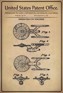 Blechschild Patent Entwurf für Spielzeug-Raumschiff Metallschild Wanddeko 20x30 cm tin sign
