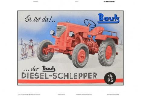 Bautz diesel schlepper 15 PS traktor trekker blechschild