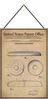 Blechschild Patent Entwurf Frisbee Metallschild 20 x 30 m.Kordel