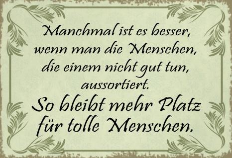 Blechschild Spruch Mehr Platz für tolle Menschen Metallschild Wanddeko 20x30 cm tin sign