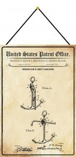 Blechschild Patent Entwurf für Schiffsanker Metallschild Deko 20 x 30 m.Kordel