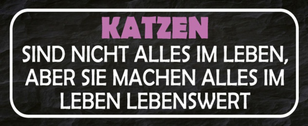 Blechschild Spruch Katzen Leben Lebenswert Metallschild 27x10 cm Wanddeko tin sign