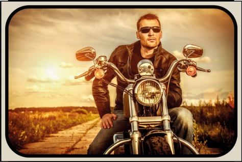 Mann am Motorrad blechschild, motorrad, pin-up, biker retro
