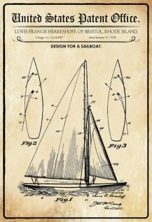 Blechschild Patent Entwurf für ein Segelboot Metallschild Wanddeko 20x30 cm tin sign