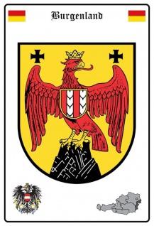 Blechschild Burgenland Wappen Metallschild Wanddeko 20x30 cm tin sign