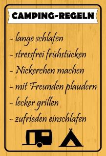 Blechschild Camping Regeln (Liste) Metallschild 20x30 Deko tin sign