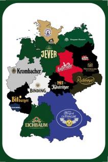 Deutschland Bier Landkarten, Map, Blechschild, Karslberg, Bitburger, Binding, Eichbaum, Oettinger, Köstrizer, Radeberger, Neuzeller, Hasseröder, Berliner Kindl, Jever, Holstein, Krombacher, Becks, Flensburger Pilsener, Darguner Brauerei
