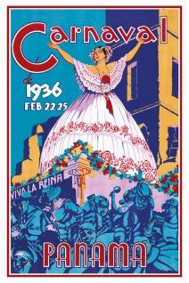 Schatzmix Blechschild Carnaval Panama 1936 Metallschild 20x30 cm Wanddeko tin sign