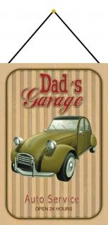 Blechschild Dads Garage Auto Service Metallschild Deko 20x30 mit Kordel