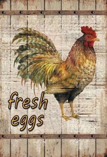 Blechschild Fresh Eggs (Huhn) Metallschild Wanddeko 20x30 cm tin sign