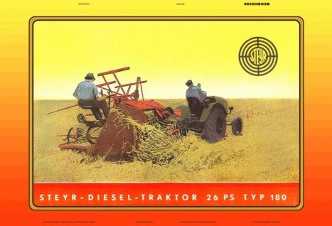 Steyr am Mähen traktor Trekker Schlepper blechschild