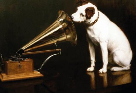 HMV - His Masters Voice - hund mit grammophone blechschild