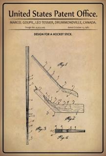 Blechschild Patent Entwurf Hockeyschläger Tessier Metallschild Wanddeko 20x30 cm tin sign