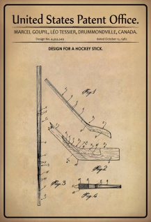US Patent Office - Design for a Hockey Stick - Entwurf für einen Hockeyschläger - Tessier - Design No 4.353549 - 1982 - Blechschild