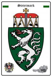 Blechschild Steiermark Wappen Metallschild Wanddeko 20x30 cm tin sign
