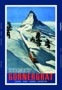 Zermat Gornergrat Schweiz schnee bahn blechschild