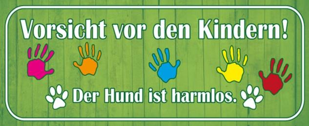 Blechschild Spruch Vorsicht vor Kindern Hund harmlos Metallschild 27x10 cm Wanddeko tin sign