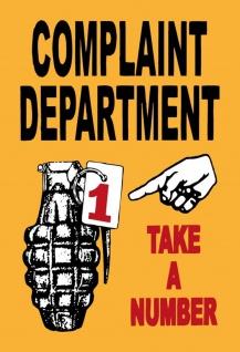 Complaint Department - Take a number Metallschild Wanddeko 20x30 cm tin sign