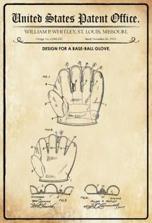Blechschild Patent Entwurf Baseball-Handschuh-Whitley Metallschild Wanddeko 20x30 cm tin sign
