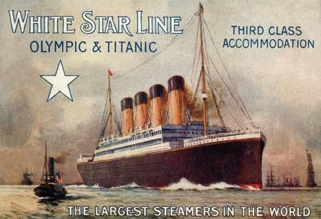 Blechschild Schiff Titanic Olympic beiges Metallschild Wanddeko 20x30 cm tin sign