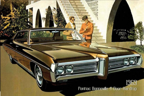 Pontiac Bonneville 4-Door hardtop 1969 Auto reklame blechschild, us, schwarz