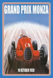 Nostalgie: Grand Prix Monza 1938 Blechschild 20x30 cm