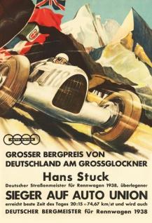 Retro: Großer Bergpreis Grossglockner 1938 Blechschild 20x30 cm
