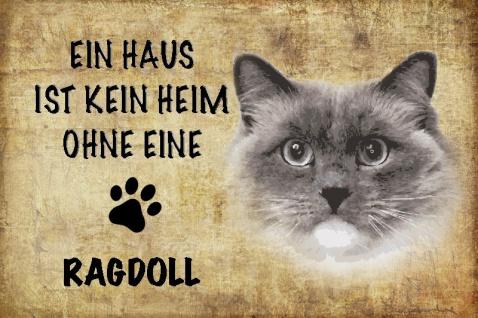 Ein haus ist kein heim ohne eine Ragdoll katze blechschild