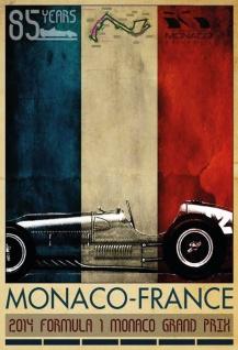 85 Jahre Monaco-France Formel 1 Blechschild 20x30 cm - Vorschau 1