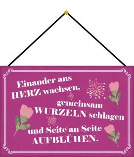 Blechschild Spruch Seite an Seite aufblühen Metallschild Deko 20x30 mit Kordel