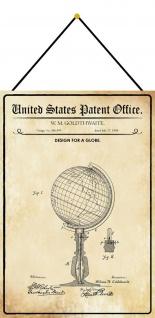Blechschild Patent Entwurf für ein Globus Metallschild Deko 20 x 30 m.Kordel